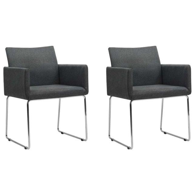 Esthetique Fauteuils collection Oslo Chaise de salle à manger 2 pcs Gris foncé