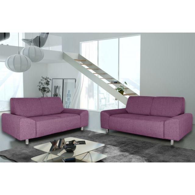 Rocambolesk Canapé Quick 3+2 savana 70 prune+pieds chrom sofa divan