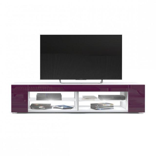 Mpc Meuble Tv blanc mat Façades en mûre laquées led Blanc