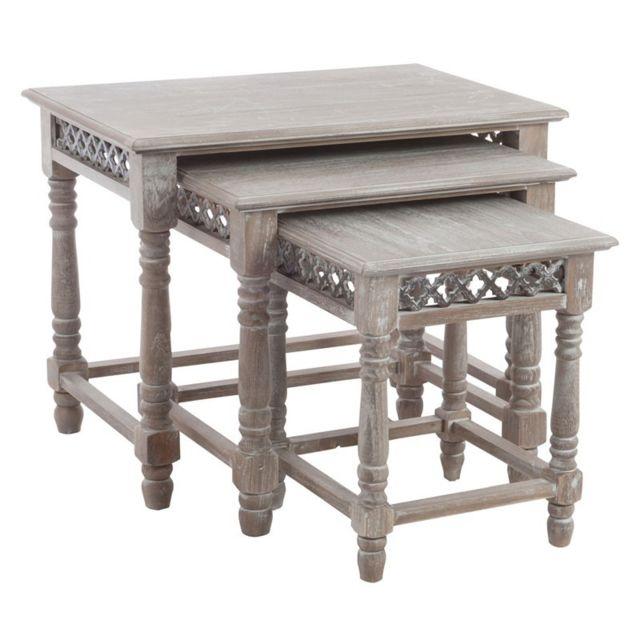 Tousmesmeubles Tables gigognes - Solene - L 65 x l 40 x H 52