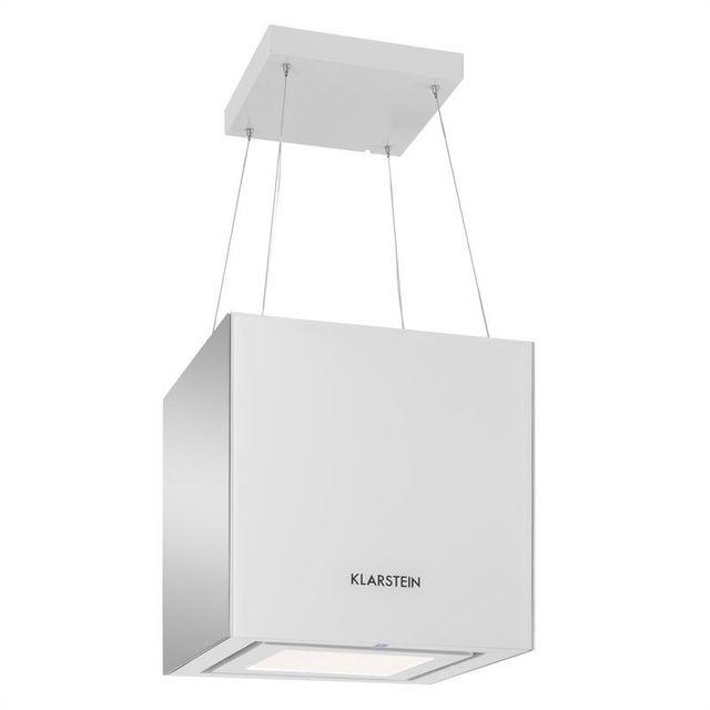 KLARSTEIN Hotte aspirante îlot suspension plafond LED Verre réfléchissant -blanc