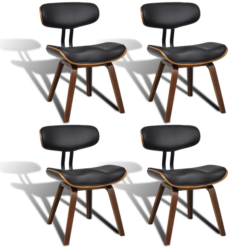dossier à manger 4 cuir Lot artificiel salle Avec Chaises En de nm8wv0N