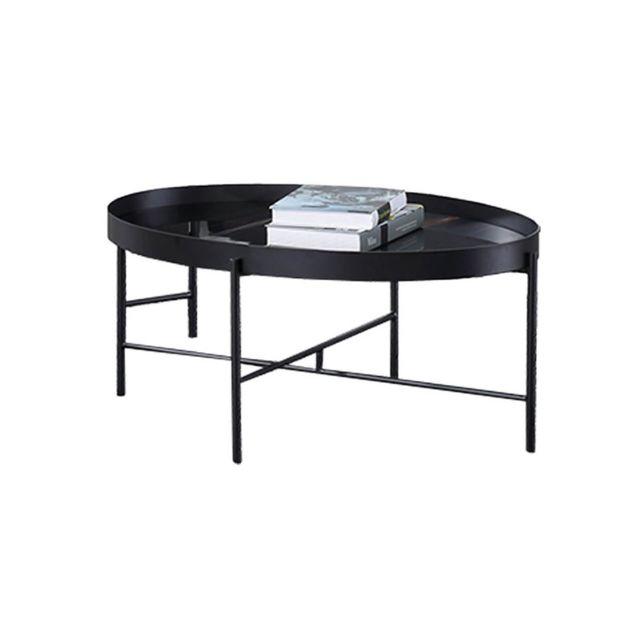 La Maison Du CanapÉ Table basse marbre Pinto - Noir - Noir