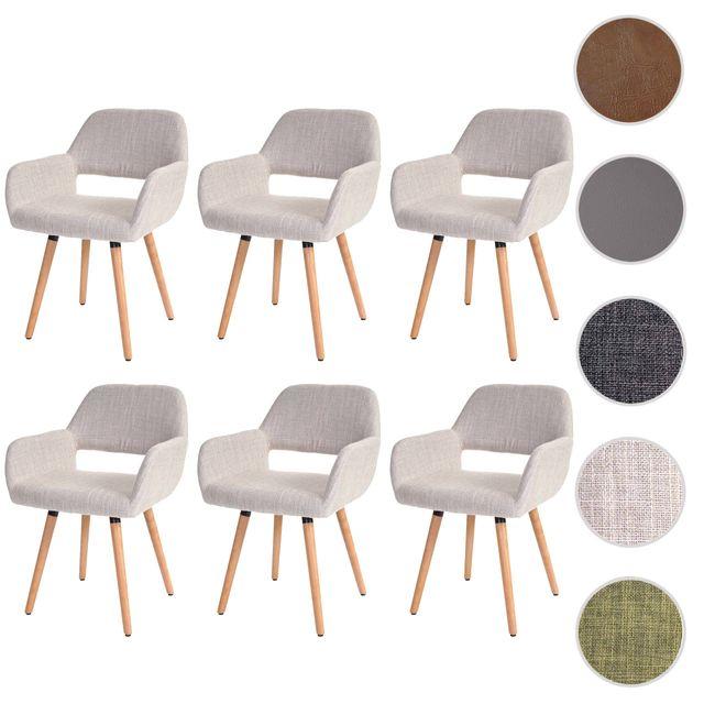 Mendler 6x chaise de salle à manger Altena Ii, fauteuil, design rétro des années 50 ~ tissu, crème/gris