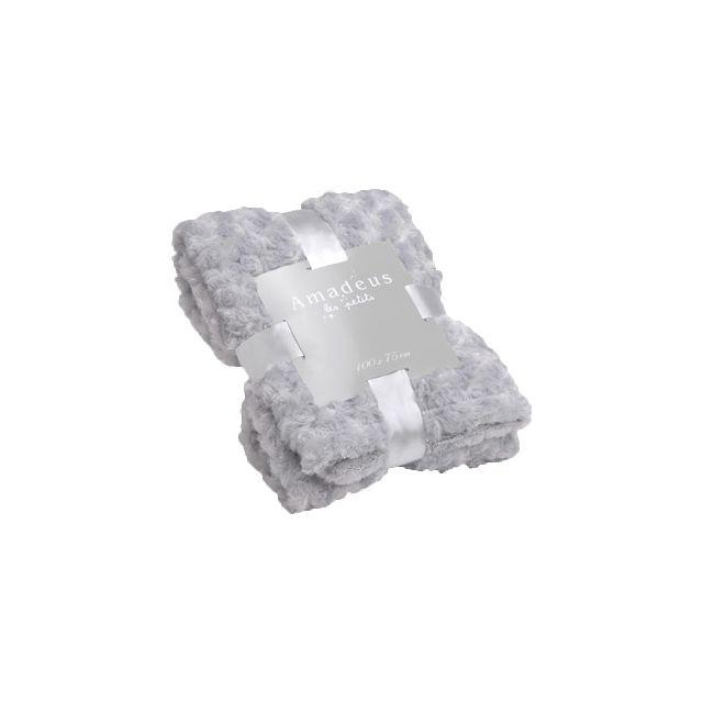 AMADEUS LES PETITS - Plaid enfant en polyester Petites Roses Gris - 100cm x 75cm
