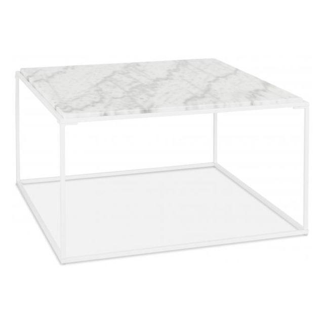 Declikdeco Table Basse Carré Blanche Effet Marbre et Piétement en Métal blanc Ticot