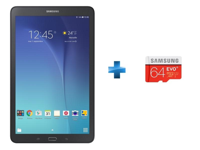 Galaxy Tab E - Noir + Micro SDXC EVO PLUS 64 Go - Classe 10 + Adaptateur SD