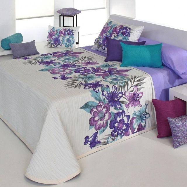 couvre lit couleur parme 100POURCENTCOTON   Couvre lit 280x270 cm tissé jacquard Cler parme  couvre lit couleur parme