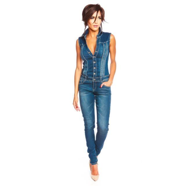 Doucel Combinaison en jean Couleur - bleu, Taille Femme - 40