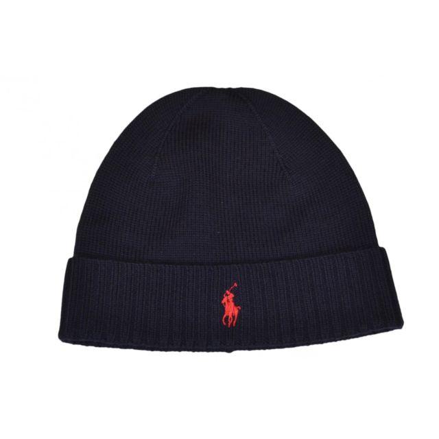 12b3fcbec1f4 Ralph Lauren - Bonnet en laine bleu marine pour homme - pas cher Achat    Vente Casquettes, bonnets, chapeaux - RueDuCommerce