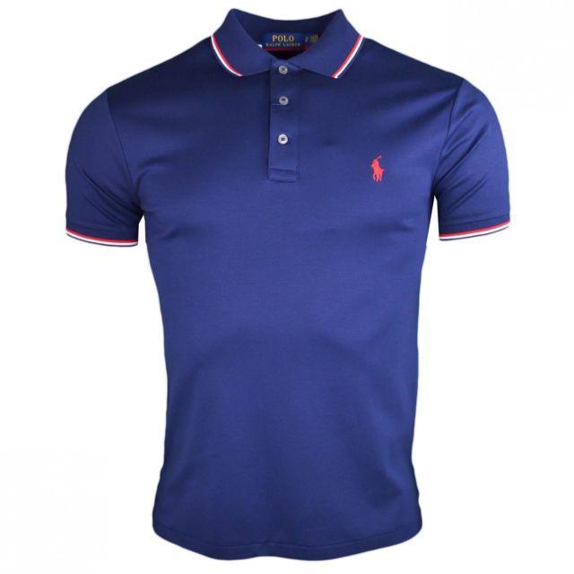 Ralph Lauren - Polo bleu marine custom fit en jersey pour homme - pas cher  Achat   Vente Polo homme - RueDuCommerce fac5ffd1dad