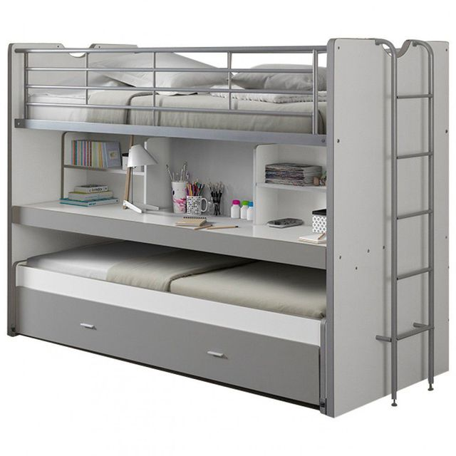 comforium lit mezzanine combin 90x200 cm avec bureau et tiroir lit coloris blanc et gris 90cm. Black Bedroom Furniture Sets. Home Design Ideas
