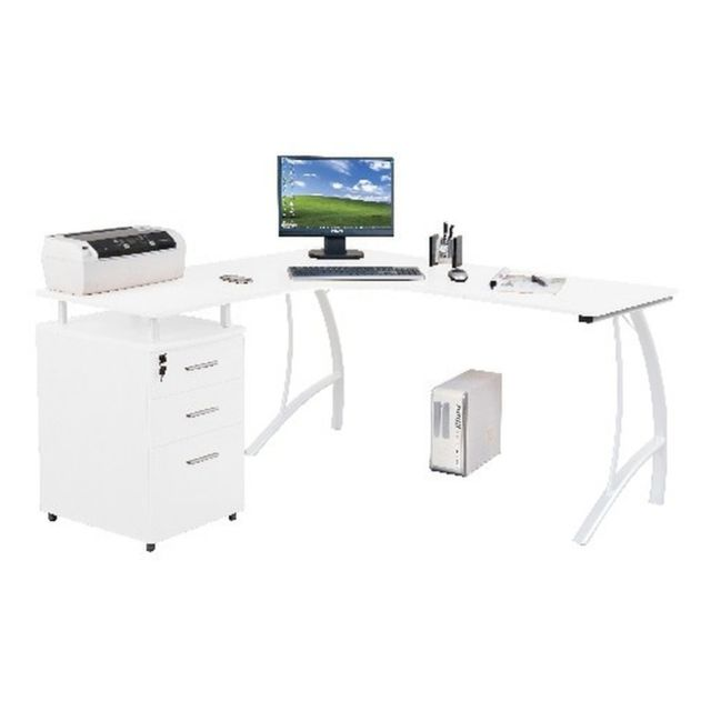 Hjh Office Bureau d'angle Castor avec caisson à tiroirs fixe, blanc laqué haute brillance