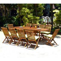 Wood-en-Stock - ensemble 10 places salon de jardin en teck huilé table 180-240 cm