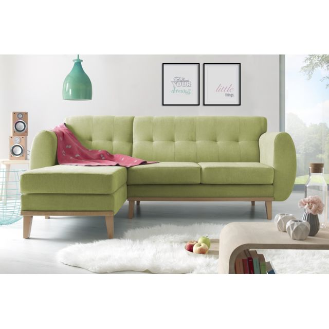 BOBOCHIC Canapé d'angle fixe Viking gauche - Vert