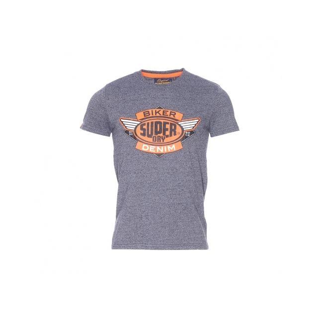 Rond Shirt En Et Chiné Marine Tee Col Bleu Imprimé Orange Superdry q6wxtFga