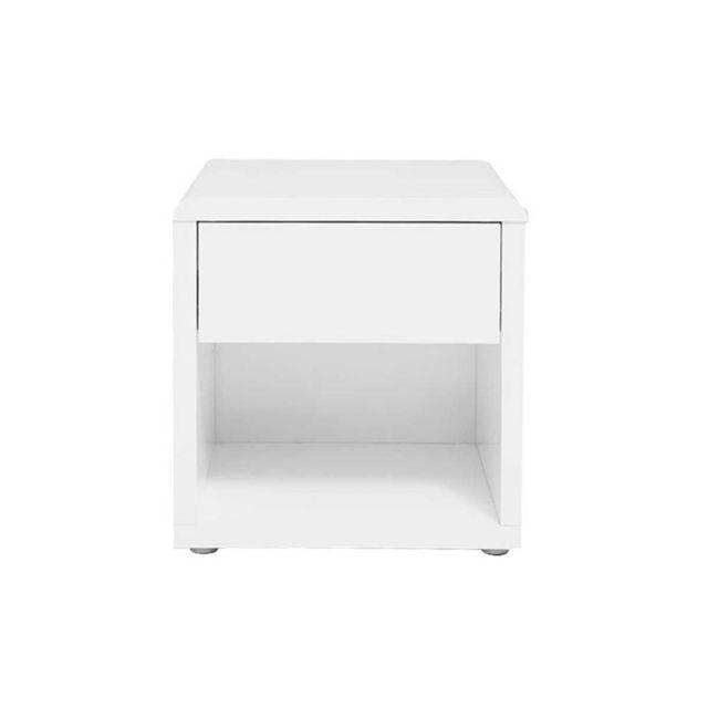 Miliboo Table De Chevet Design Laquee Blanche Elio Pas Cher