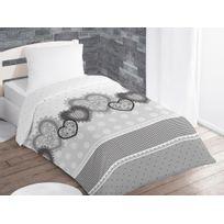 Intemporel - Couette imprimée 140x200 cm Eleonore gris