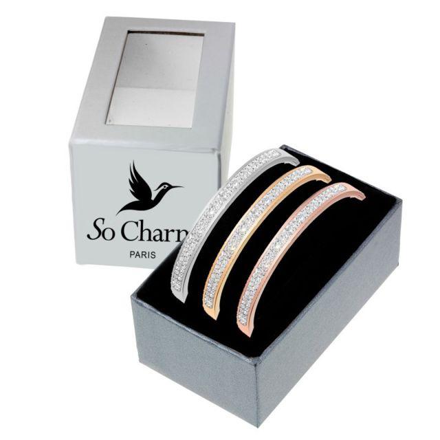 Sc Crystal 3 Bracelets en acier inoxydable ornés de Cristaux de Bohème