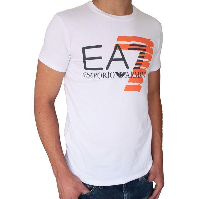 Armani - T-shirt Ea7 Emporio manches courtes. Coupe ajustée, près du corps.  Matière confortable avec élasthanne. Col rond. Logo imprimé sur le devant. 2d66cc8ed6b