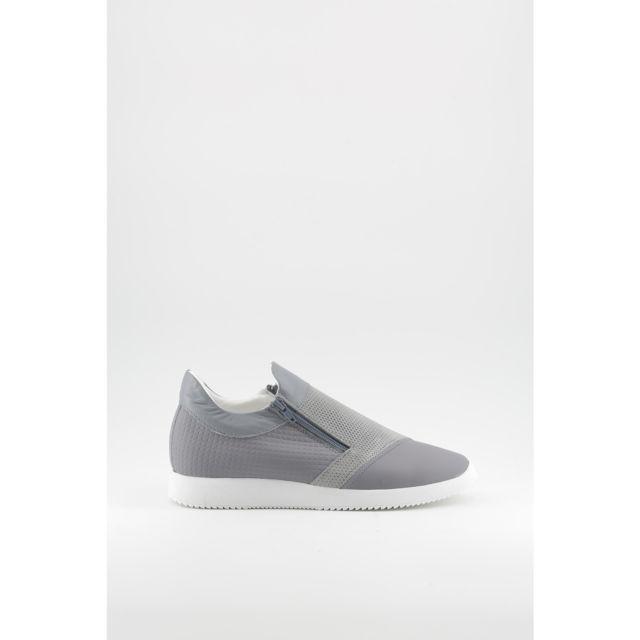 afa28293ae41 Buzzao - Sneakers semelle épaisse avec double fermeture éclair gris homme -  Made in Italia -