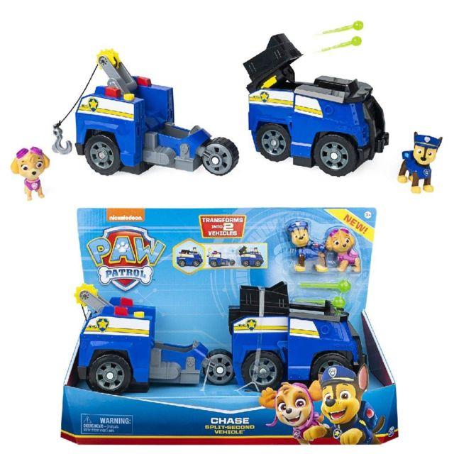 Spin Master 6056033/20122673 - Paw Patrol Chase 2 - en - 1 - Split Deuxième voiture de police avec 2 figurines