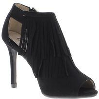Chaussmoi - Low-boots noirs ouverts à talon de 10cm aspect daim avec franges