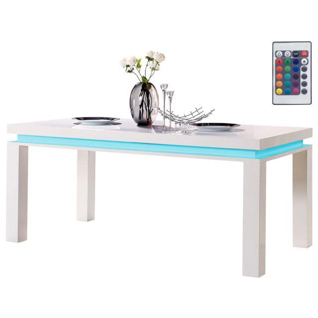HABITAT ET JARDIN Table repas LED Anna - 180 x 90 x 77 cm - Blanc