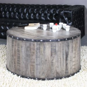 Made In Meubles - Table basse industrielle effet rondin de bois ...