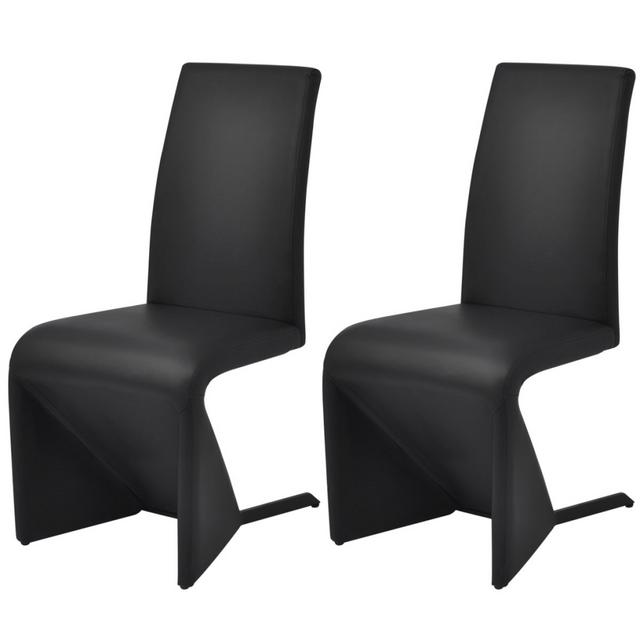 Vidaxl Chaises de salle à manger cantilever 2 pcs Cuir artificiel Noir