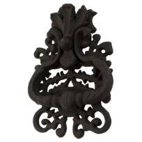 LH/éritier Du Temps Claque Porte ou Heurtoir Style Cheval en Fonte Patin/ée Noir 8x8x18cm