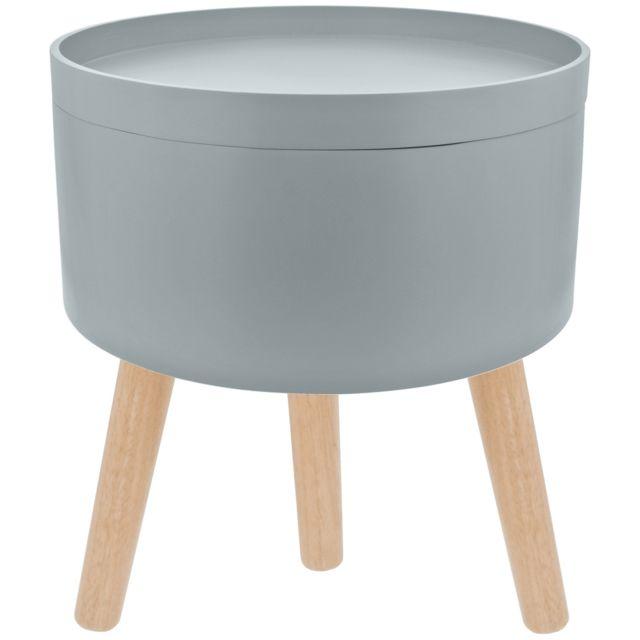 Table De Salon Scandinave Avec Plateau Amovible Coffre Gris Argenté