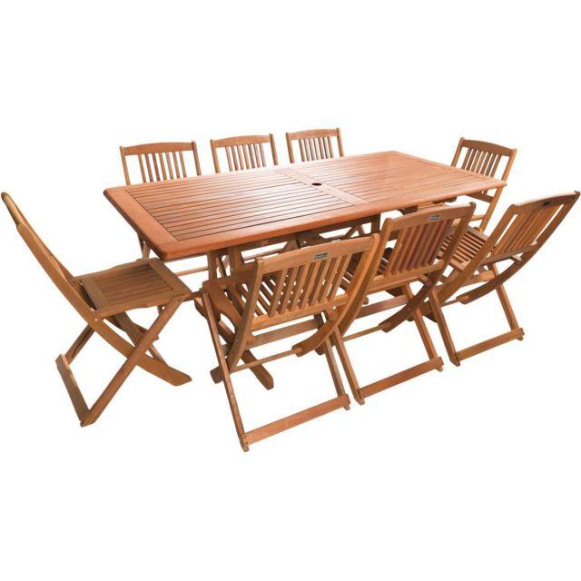 Habitat et jardin salon de jardin bois exotique hongkong 8 table pliante 8 chaises - Table de jardin en bois ...