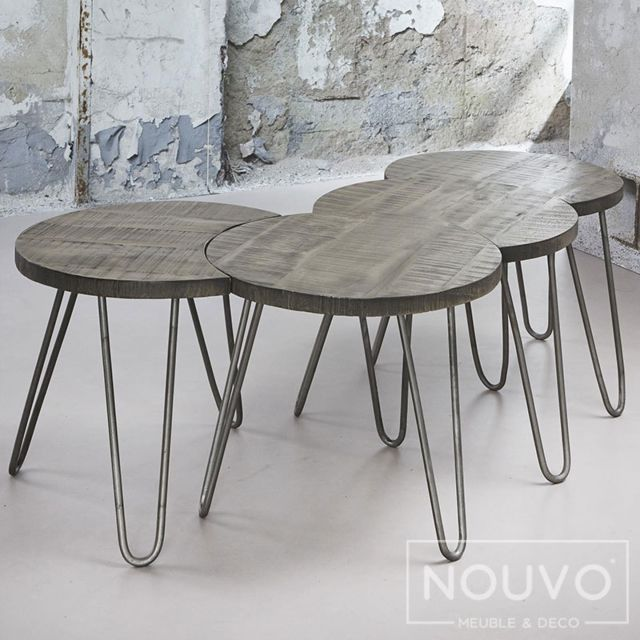 Nouvomeuble Table basse modulable couleur bois Raen