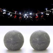 Feerie Lights - Guirlande lumineuse perles rouge et argent et bougies boules grises