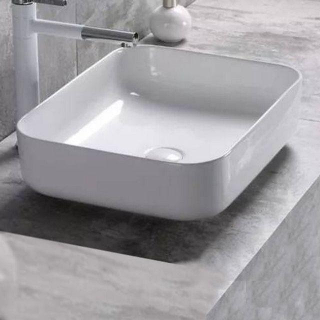vasque a poser ceramique rectangulaire Rue Du Bain - Vasque à Poser Carrée - Céramique - 40x40 cm - Nordik