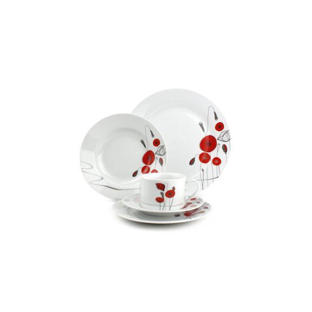 8ed9d5bed3021 Yong - Service de table en porcelaine motif Coquelicot rouge 30 pièces  Papavero