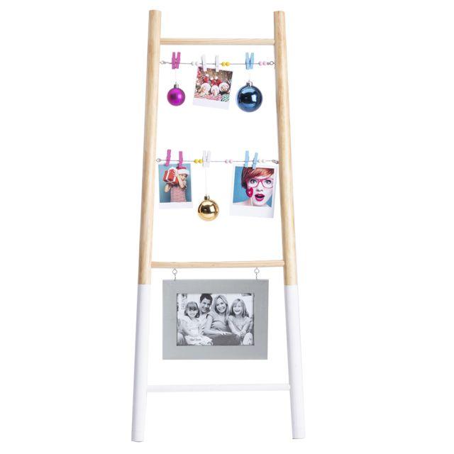Echelle porte photo en bois avec pinces et cadre argenté H90cm
