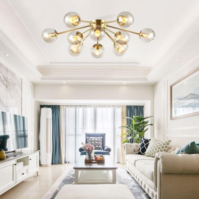 Lampe suspendue Luminaire Salon de plafond salle séjour chambre à coucher  moderne simple concepteur chandelier d\'artiste, 12 têtes, ocre sec