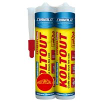 Cyanolit - Lot de 2 colle de fixation Koltout blanc