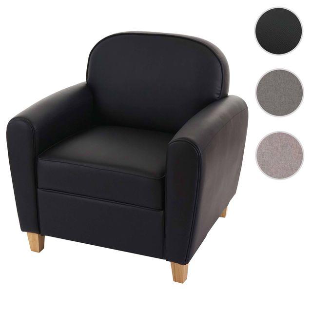 Mendler Fauteuil Malmö T377, fauteuil rembourré de salon, rétro, design des années 50 ~ noir, similicuir