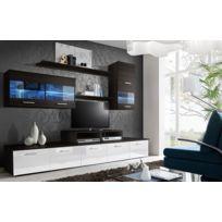 Asm-mdlt - Ensemble meuble Tv Loga noir et blanc avec Led