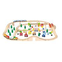 Milly Mally - Gare de chemin à fer circuit de trains en bois enfant 3ans+ 90 pièces   Multicolore