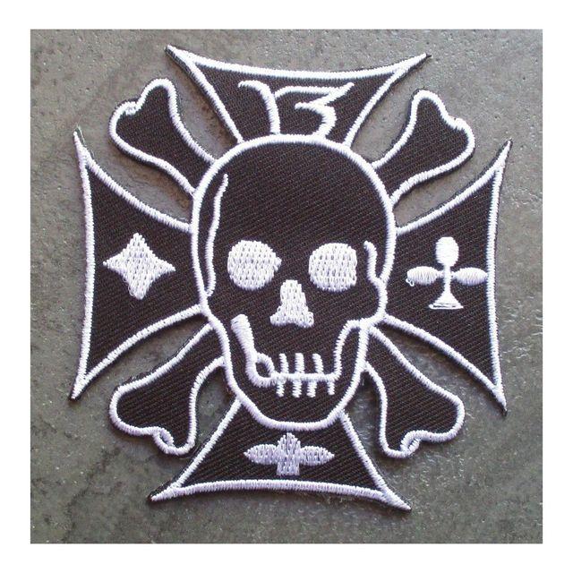 Universel Patch crane sur une croix de malte noir 13 ecusson rock roll