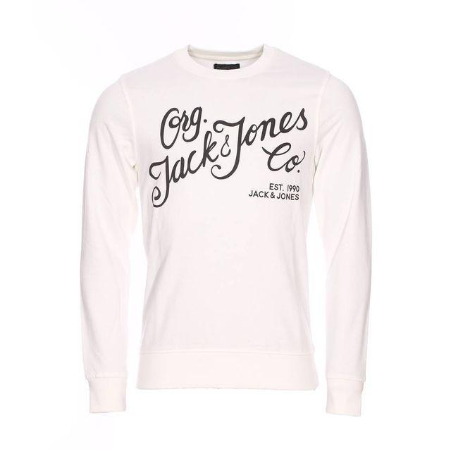 86e1db44e01f7 Jack JONES - Sweat col rond Jack   Jones en coton écru floqué en ...