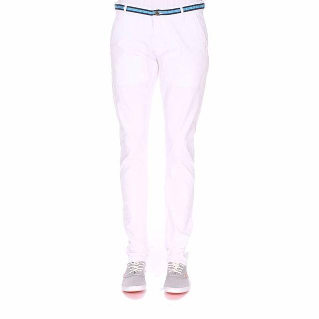 Pas Cher Chino Pantalon En Blanc Coton Stretch Biaggio Achat Y7qw0w 0213a302112