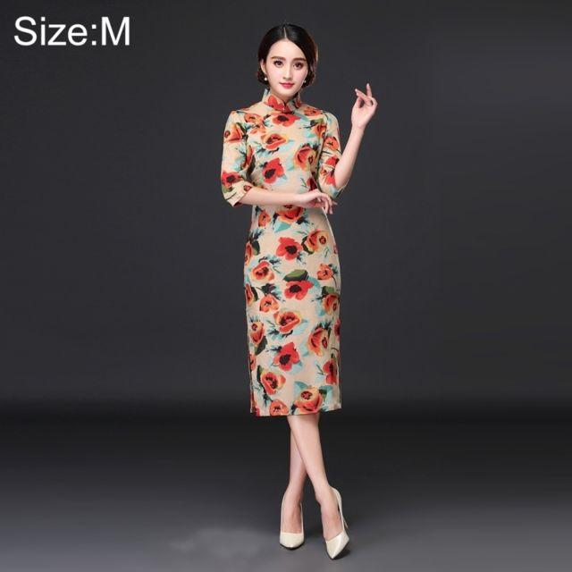6ed577a2a82 Wewoo - Cheongsams Femme Tempérament Mode Tulipes Modèle Retro Ligne  Cheongsam Long-style