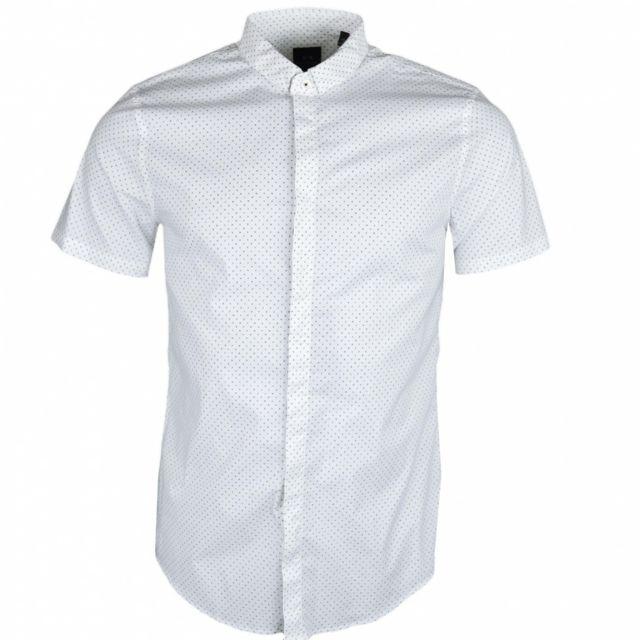 Armani Ea7 Chemise manches courtes Armani Exchange blanche à mini imprimé lettres logo pour homme