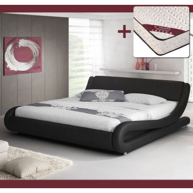 DESIGN AMEUBLEMENT Lit design Alessia – noir 150x190cm, avec matelas Pro Nature