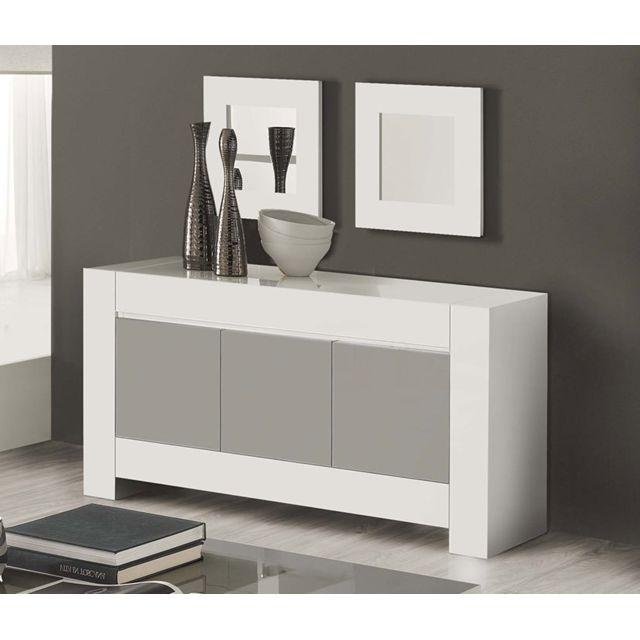 Buffet Bahut Blanc Et Gris Laqué Design Flavie 2